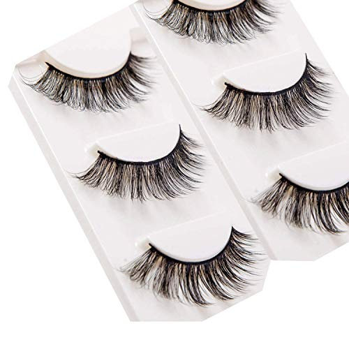 Trcoveric 3D False Eyelashes Makeup Hand-made Looks Natural Volume Wispies Fluffy Long Fake Lashes Reusable 3 Pair Pack