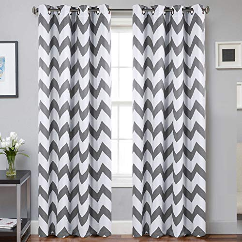 Blackout Bedroom Curtains Chill Grey Polyline Indoor Window Treatments Thermal Insulated Grommet Top Room Darkening Drapes for Living Room (52 Inch x 84 Inch, 2 Pieces, Grey Chevron Pattern )