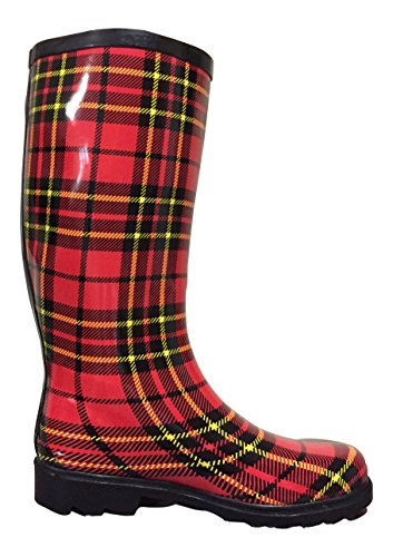 Mstkh Rubber black Boots Rain Red Womens Plaid Psw EYZgqF5wn