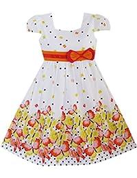 Sunny Fashion Girls Dress Short Sleeve Butterfly Dot School