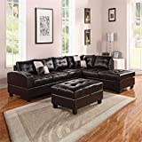 Bowery Hill Reversible Bonded Leather Sectional in Espresso
