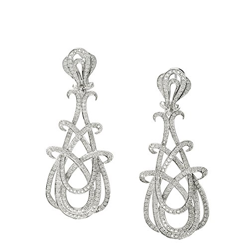 D'sire 18k White Gold Diamond Dangling Fine Earrings Jewelry for Women TDW 2.421 carats