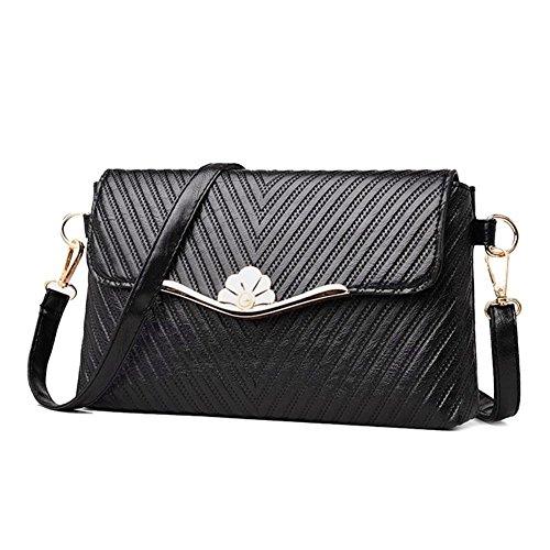 Black Envelope Handbag Casual Leather Bags Shoulder Women Everpert PU Pure Messenger PwHTwqvS