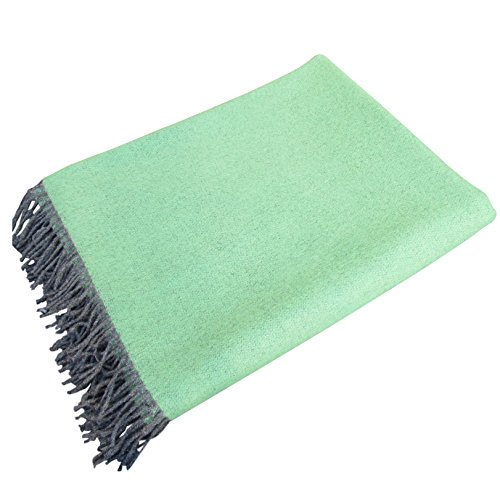 """100% Pure Lambswool Throw by Carnua Ireland-Large Luxuriously Soft Wool Blanket 78"""" x 57"""" (Kiwi Green Reversible) by Carnua"""