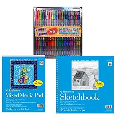52 Piece Gel Pen Set with Comfort Grips and Tin Storage Case and Carrying Handle with 2 FREE Strathmore 100 Series Kids Pads - This All in One Kit is a Perfect Gift for the Young Artist