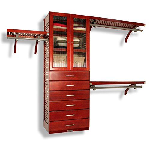 10' Deep Shelf - 16in. Deep Deluxe Organizer - 6 Drawers (6in. Deep) with Doors - Red Mahogany Finish