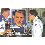 Stamps for collectors - perforfated stamp sheet featuring Formula 1 / Racing / Cars / Jacques Villeneuve / Champion of The World 1997