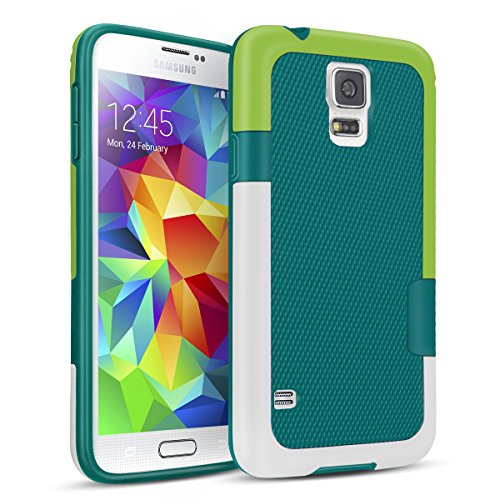 Samsung Galaxy S5 Case, TILL(TM) Ultra Slim 3 Color Hybrid Impact Anti-slip Shockproof Soft TPU Hard PC Bumper Extra Front Raised Lip Case Cover for Samsung Galaxy S5 I9600 GS5 G900V [Green]