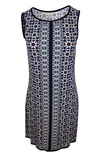 (Max Studio Women's Blue White Floral Mixed Border Print Sleeveless Jersey Shift Dress, S)
