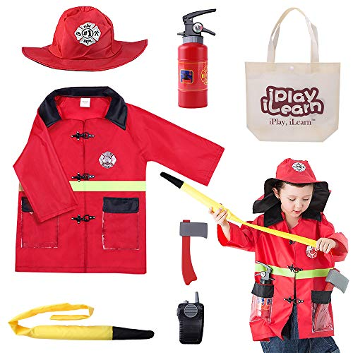 Fireman Sam Halloween Costumes (iPlay, iLearn Kids Fire Chief Costume, Halloween Fireman Dress Up Set, Fire Fighter Outfit, Pretend Role Play Firefighter Gifts for 3, 4, 5, 6 Year Old)