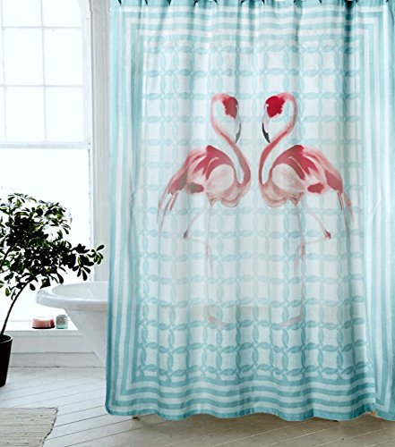 (Tropical Pink Flamingo Novelty Fabric Shower Curtain Cotton Bland Stripes Fabric Shower Curtain)
