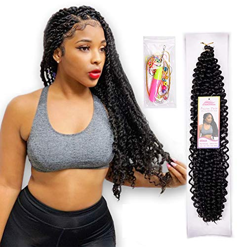 6Pcs Passion Twist Natural Black Synthetic Hair for Black Women Andromeda 18 Inch Soft Long Braids Passion Twist Crochet Braiding Hair Extensions with 5 Free Gift (1B) (Best Twists For Natural Hair)