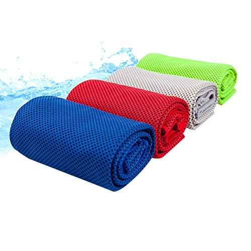 - 4 Colors Cooling Towel, Snap Ice Pack Towel for Sport, Yoga, Fitness, Workout, 4 Pack