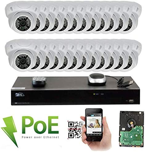 GW Security 32 Channel 4K NVR 5MP IP Camera Network PoE Surveillance System with 24-Piece HD 1920P Weatherproof Security Dome Cameras – White