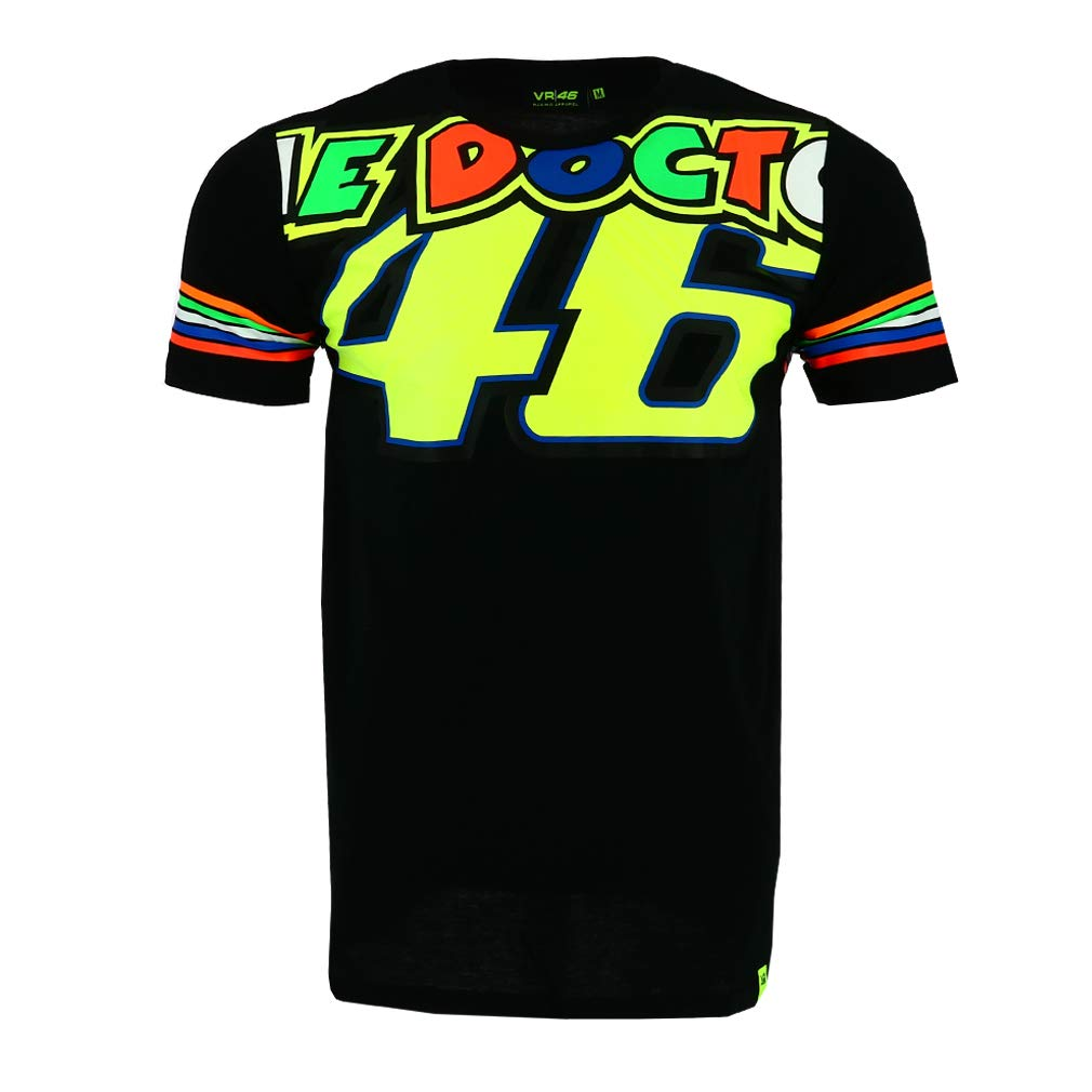 Valentino Rossi VR46 Moto GP The Doctor Stripes Negro Camiseta Oficial 2018 VR/46