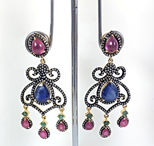 (Victorian Earring Pave Diamond Earring Emerald with Ruby & Blue Sapphire Earring 925 Sterling Silver Antique Finish Earring 925 Sterling 54 mm x 23 mm )