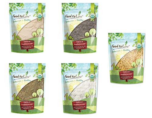 Organic Baking Ingredients in a Gift Box - A Variety Pack of Organic Coconut Flour, Organic Chia Flour, Organic Coconut Sugar, Organic Shredded Coconut, Organic Ground Golden Flaxseeds