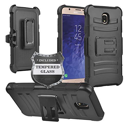 Z-GEN - Galaxy J7 2018, J7 Refine, J7 Star, J7 Crown, J7 Aura, J7 Top, J7 V J7V 2nd Gen J737 - Hybrid Phone Case w/Stand/Belt Clip Holster for Samsung + Tempered Glass Screen Protector - CV2 Black