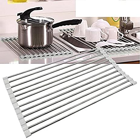 Stainless Steel Over The Sink Dish Drying Rack, Yummy Sam Sink Roll Up  Rollable And