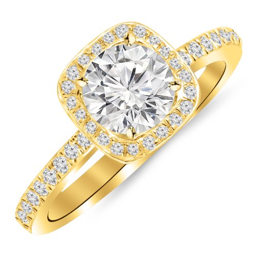 1 Carat Classic Halo Style Cushion Shape Diamond Engagement Ring 14K Yellow Gold with a 0.75 Carat H-I I1 Round Brilliant Cut/Shape Center by Houston Diamond District