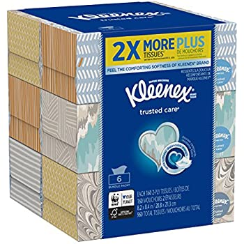 Kleenex Trusted Care Everyday Facial Tissues, Flat Box, 160 Tissues per Flat Box, (6 count)