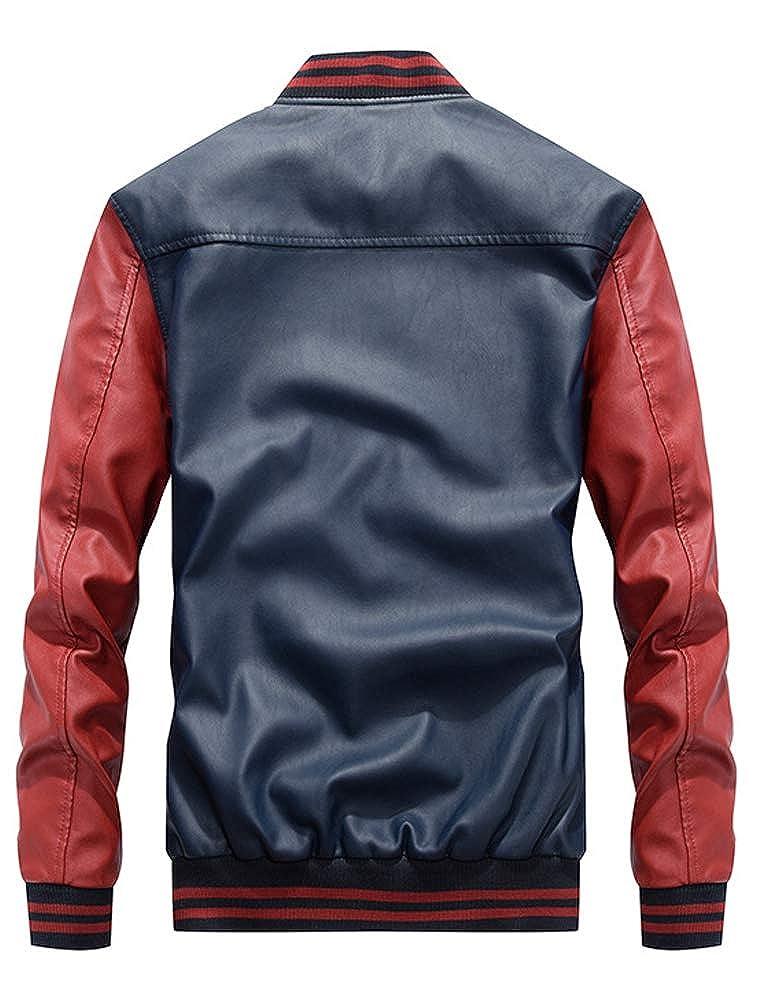 KJHSDNN Veste Cuir Homme Jacket Moto Veste de Baseball Epais Casual Bomber Blouson FRS-3XL 1-bleu