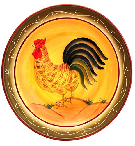 - Tuscany Province Sunshine Rooster Hand Painted Ceramic Serving Pasta Bowl Salad Fruit 13-1/2