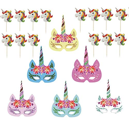 DINGJIN 32 Pcs Rainbow Unicorn Paper Masks and Unicorn Cake Picks Cupcake Toppers for Kids Birthday Unicorn Party Favors -