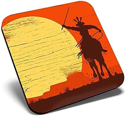 Posavasos cuadrado con diseño de guerrero samurai en caballo | Posavasos de calidad brillante | Protección de mesa para cualquier tipo de mesa #12943