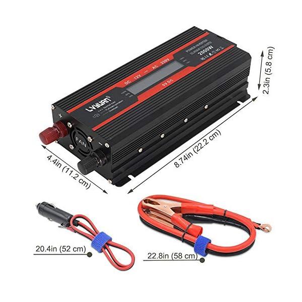 5163XHDsDPL LVYUAN Spannungswandler 12V 230V 1000W / 2000W Wechselrichter LCD mit 2 USB