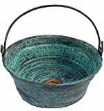 Egypt gift shops Green Patina Oxidized Vessel Copper Bathroom Bucket Sink Refurbishment Upgrade