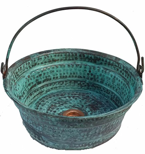 Cheap  Egypt gift shops Green Patina Oxidized Vessel Copper Bathroom Bucket Sink Refurbishment..