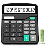 Calculator,12-Digit Solar Battery Basic Calculator,Solar Battery Dual Power with Large LCD Display Office