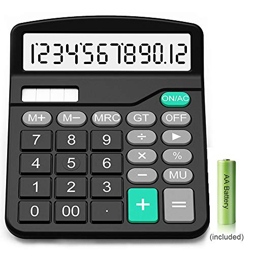 Calculator,12-Digit Solar Battery Basic Calculator,Solar Battery Dual Power with Large LCD Display Office Calculators(Black002) -