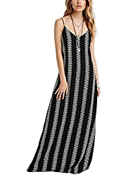 SheIn® Women's Spaghetti Strap Black Geometric Print Loose Maxi Dress