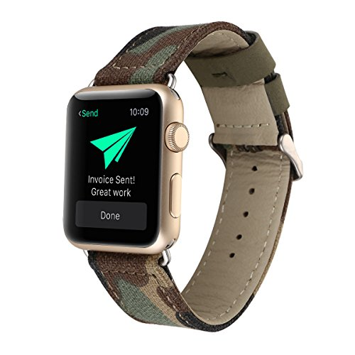 Women Men Camouflage Camo Pattern Leather Denim Fabric Watch Band Compatible for Apple Watch Series 2, Series 1, Sport, Edition 42mm ()
