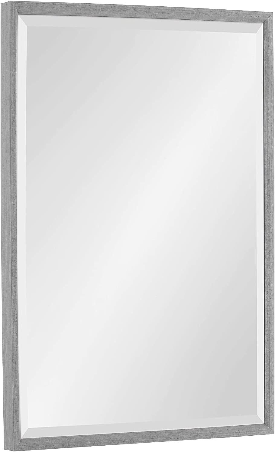 Modern Rectangle Beveled Mirror Wood Framed Wall Mirror Peaked Trim Mirror for Vanity, Bedroom,Bathroom or Entryway Wall-Mounted Horizontal or Vertical Farmhouse Decor 24x36 inch Light Gray