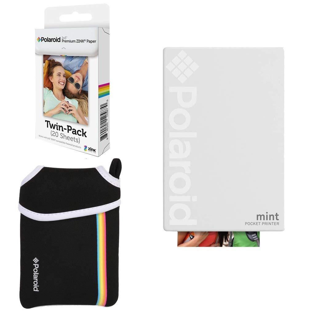 Polaroid Mint Pocket Instant Printer (White) Basic Bundle + Paper (20 Sheets) + Deluxe Pouch by Polaroid
