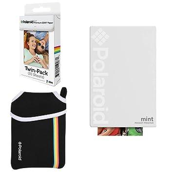 Polaroid Mint: Impresora instantánea de Bolsillo (Blanca) Paquete básico + Papel (20 Hojas) + Funda Deluxe