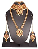 Traditional Fabulous Style Gold Plated Crystal Stone Indian Necklace Earrings Bridal Set Jewelry