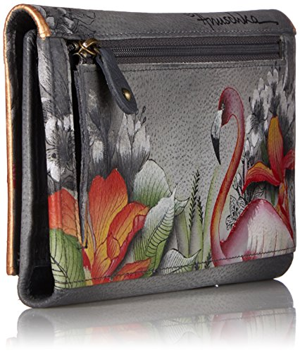 and Ladies Accessories three Flamboyant Wallet fold Flamingos Clutch for Ladies Handmade 1136 FFG Hand Leather Anuschka Purses Painted Gift Her fqpwOYX