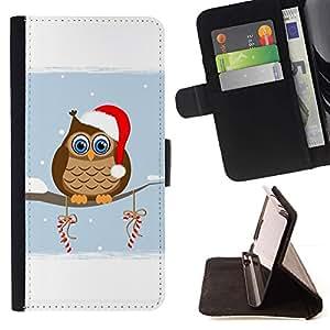 Momo Phone Case / Flip Funda de Cuero Case Cover - Búho del duende del invierno Sombrero Rojo Blanco Art Dibujo caramelo - Samsung Galaxy A5 ( A5000 ) 2014 Version
