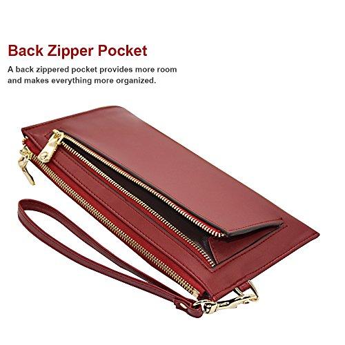 Befen mujeres suave cuero pulsera móvil embrague cartera con correa de muñeca desmontable Smartphone bolso para el iPhone 7 / 6s / 6 más, iPhone 7 / 6s / 6 / 5s-Azul Marino granate