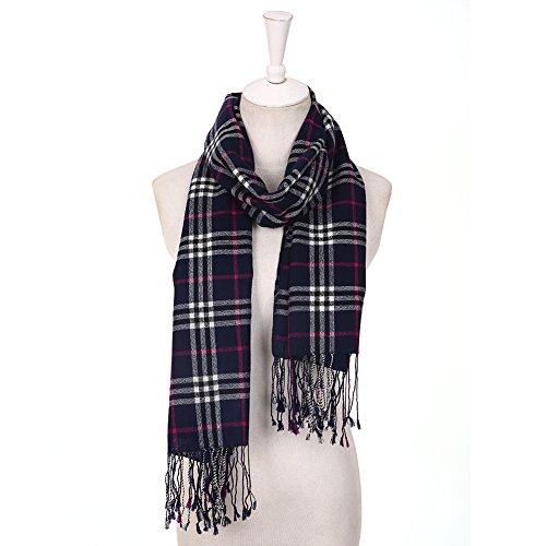 Xiuying Feng Winter Classic Cozy Warm Wool Lambswool Neutral Vintage Irish Tartan Plaid Long Scarf Shawl For Women (Navy1)