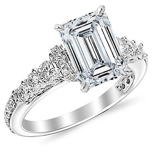 1.5 Carat Designer Four Prong Round Diamond Engagement Ring (G Color, VS2 Clarity Center Stones) - Emerald Cut