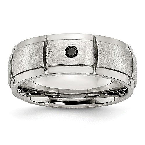 Saris and Things Stainless Steel Polished Brushed 0.05pt. Diamond 8mm Band Ring 12 Size by Saris and Things