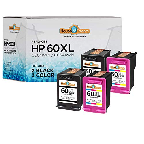 (HouseOfToners Remanufactured Ink Cartridge Replacement for HP 60XL (2 Black & 2 Color, 4-Pack))