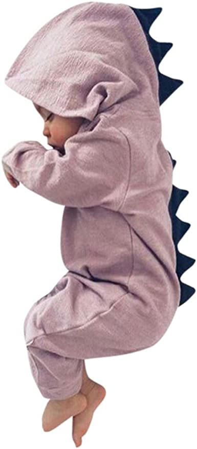 ASHOP Bebé Dinosaurio Hooded Mameluco Ropa Pijama Trajes de niños (Rosado, 12 Meses)