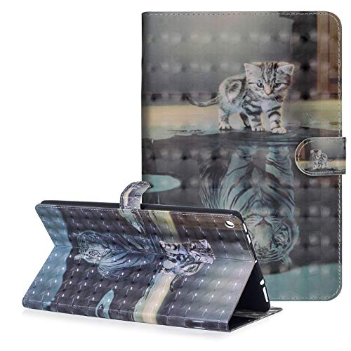 Leather Tigers (Dteck Fire HD 10 Case (7th Generation, 2017 Release) - Slim Fit 3D Premium Leather Folio Stand Wallet Cover with Auto Wake/Sleep Smart for All-New Amazon Kindle Fire HD 10.1