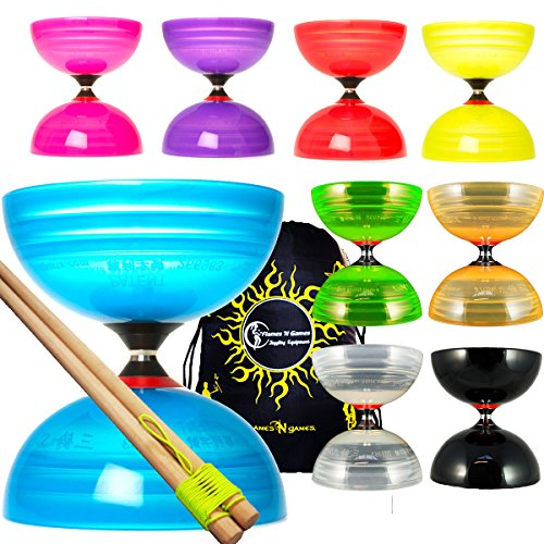 Sundia Shining Series Triple Bearing Diabolo + Wooden Handsticks + Travel Bag! Wide Clutch Triple Bearing Axle Spinning Diablo for Intermediate and Experts!